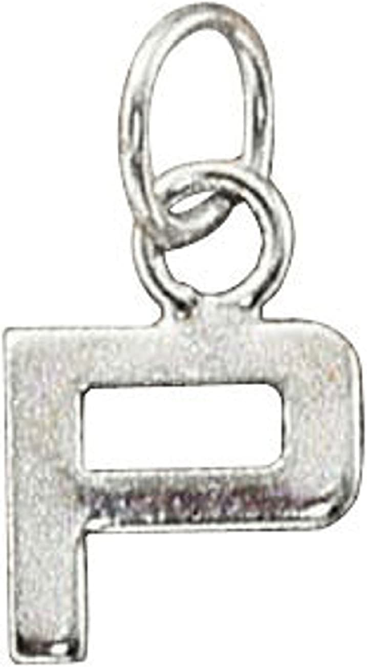 Sterling Silver Womens 1mm Box Chain Lined Letter P Pendant Necklace