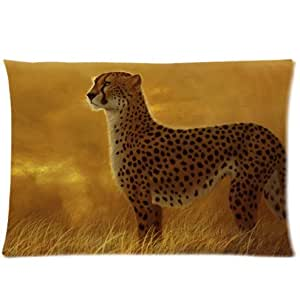 LarryToliver You deserve to have single-sided printing The simulation of cloth 20 X 30 inch pillowcase art cheetah predator cat wild grass savanna Design best pillow cases