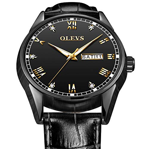 (Black Watches for Men on Sale,Mens Analog Watch with Day and Date,Mens Wrist Watch Leather Classic Watches,OLEVS Men Watch with Leather Strap Waterproof Wrist Watches,on Sale Mens Watches)