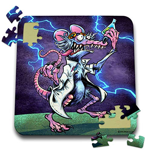 3dRose Flyland Designs - Light, Funny, Cartoon, Rat - Mad Scientist Rat Holding a Beaker Beneath a Stormy Sky - 10x10 Inch Puzzle (pzl_295922_2)]()
