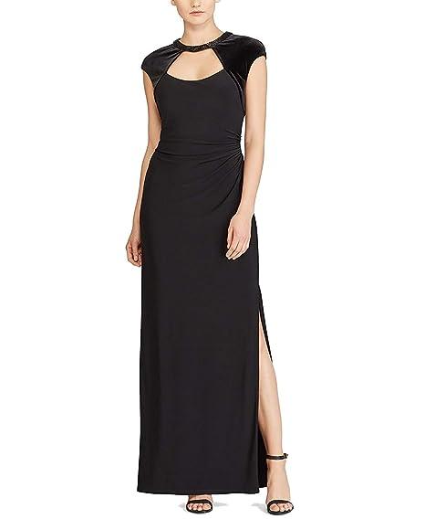 Lauren Ralph Lauren Womens Ashling Cut Out Beaded Evening Dress At