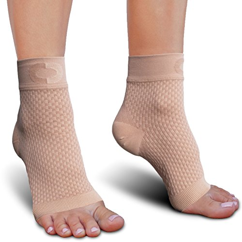 Toe Med Beige Right Leg (Plantar Fasciitis Socks with Arch Support for Men & Women - Best Ankle Compression Socks for Foot and Heel Pain Relief - Better Than Night Splint Brace, Orthotics, Inserts, Insoles)