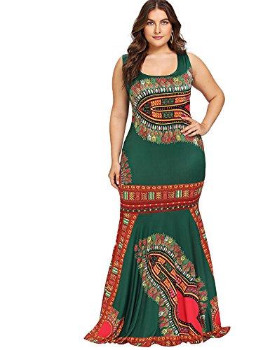 Floerns Women's Floral Print Sleeveless Tank Long Maxi Ruffle Dress Green-1 ()