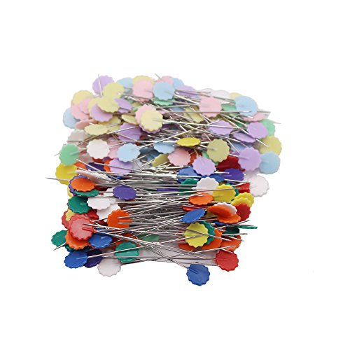 LAOZHOU 200 Pack Multicolor Flat Flower Head Pins Boxed (200 Pack)