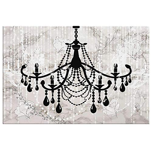 Glam Painting - Glam Wall Decor for Women - Bedroom Wall Art Painting - Shabby Chic Wall Decor - Canvas Wall Art for Women - 5 Sizes - Vintage Chandelier ()