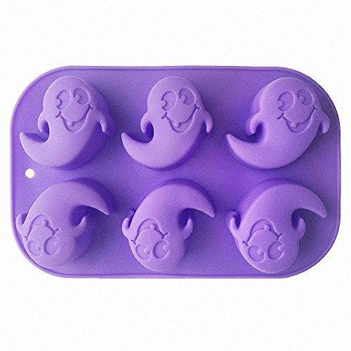 Halloween Ghost Silicone Mold (Random Color)- MoldFun Ghost Mould for Soap, Jello Shot, Ice Cube, Chocolate, Lotion Bar, Baking Muffin, Wax, Crayon -