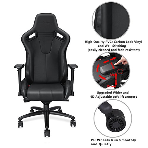 Large Size Big And Tall 400lb Premium Gaming Chairanda Seat Dark