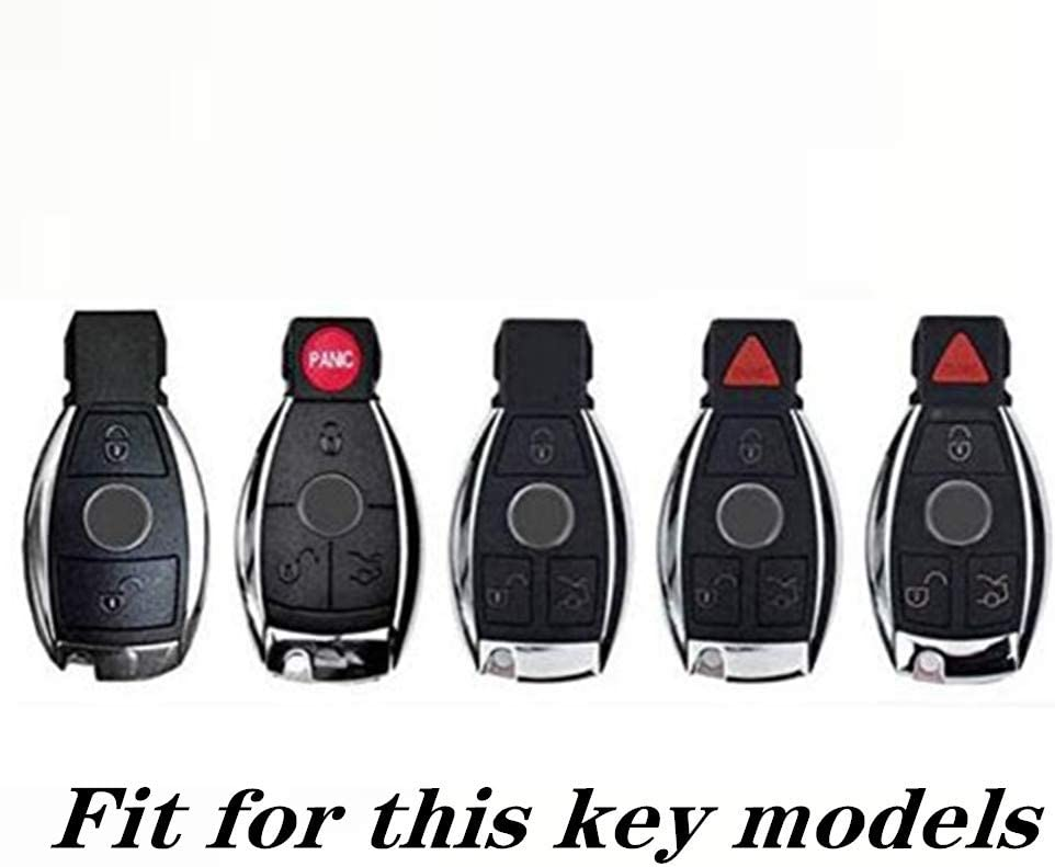 YUWATON Car Remote control Key Case Key Fob Key Cover Key Chain Bling Accessories for Mercedes Benz A B C E S G Class ML GL CLA CLS CLK GLA GLC GLE GT AMG Series black