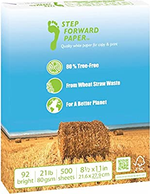 Step Forward 80% Wheat Straw Copy Fax Inkjet Laser Printer Paper, Letter Size 8 1/2 x 11 inch, 21 lb., 92 Bright White, Acid Free, FSC-Certified, Ream, 500 Total Sheets (STEP-US2)