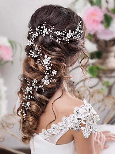 Barogirl Bride Wedding Headband Flower Hair Vine Crystal Bridal Hair Accessories for Women (Silver)