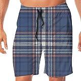 Haixia Men Lightweight Boardshorts Checkered Abstract Striped Design Scottish