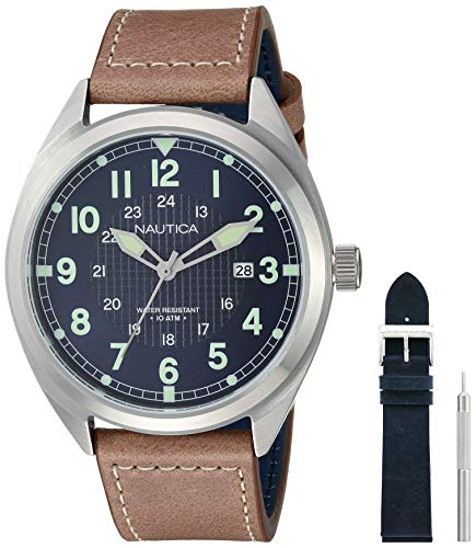 Nautica Men's Battery Park Stainless Steel Japanese-Quartz Leather Strap, Brown, 21 Casual Watch (Model: NAPBTP008