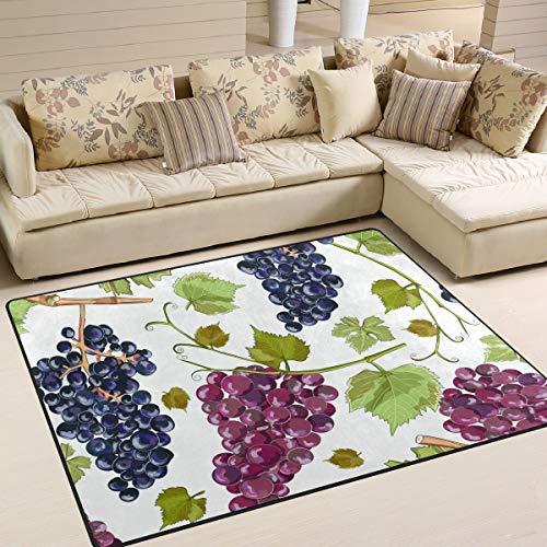 Area Rugs Hand Paint Fruit Grapes Green Leaves Indoor/Outdoor Floor Mat Livingroom Bedroom Sofa Carpet Non Slip Home Hotel Large Custom Area Rug Mat 5.25