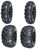 2 FRONT 25-8-12 & 2 REAR 25-10-12 ATV MUD REBEL TIRES