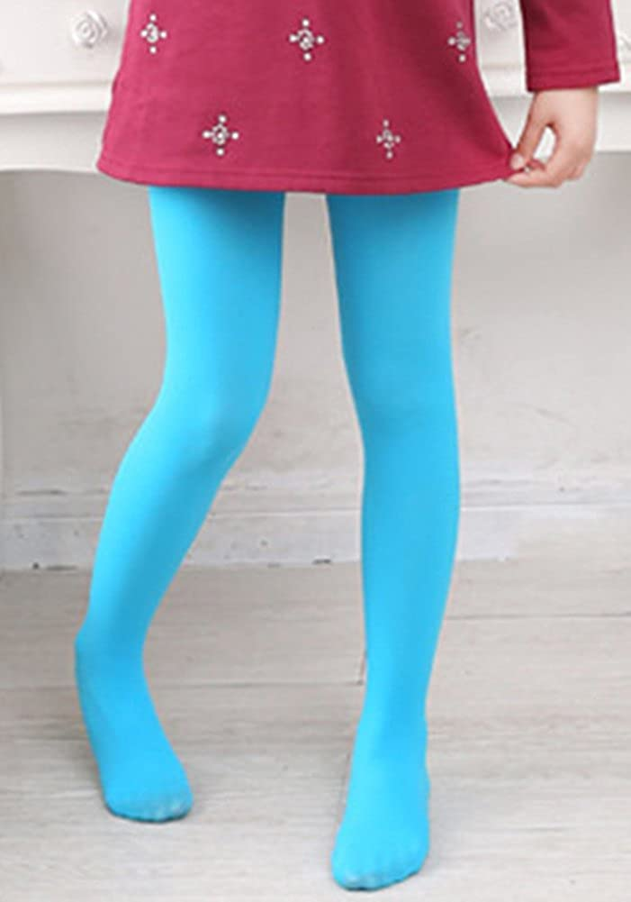 X/&F Girls Solid Stretch Opaque Footed Tights Spring Basic Dance Leggings