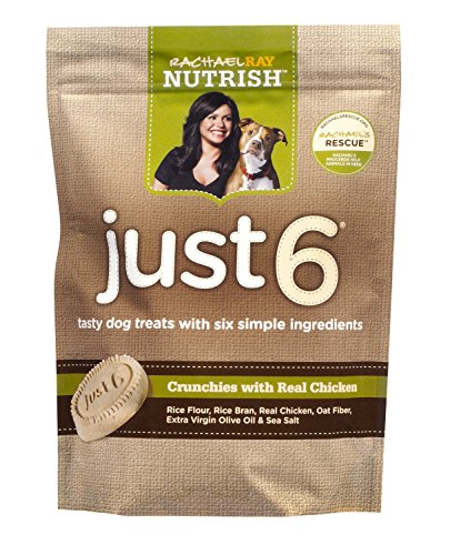 Rachael Ray Nutrish Just 6 Dog Treats, Chicken Crunchies Recipe, 10-ounce Pouch (Pack of 3) (Chicken)