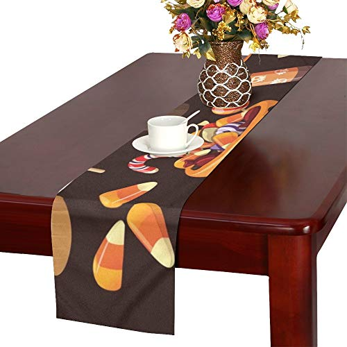 WHIOFE Set Colorful Halloween Sweets Candies Icons Table Runner, Kitchen Dining Table Runner 16 X 72 Inch for Dinner Parties, Events, -