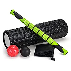 "Odoland 5-In-1 18"" Large size Foam Roller Kit with Muscle Roller Stick and Massage Balls, High Density For Physical Therapy, Deep Tissue Trigger, Pain Relief, Myofascial Release, Balance Exercise"