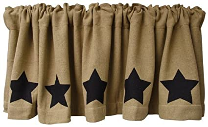 Black Star Burlap Window Curtain Valance Natural Tan Weave Country Primitive Home Decor