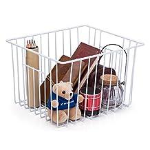 SANNO Household Wire Storage Basket Bins Organizer with Handles for Kitchen, Pantry, Freezer, Cabinet - Pearl White