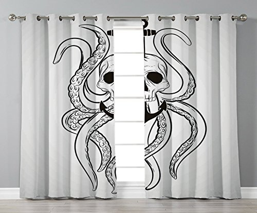Thermal Insulated Blackout Grommet Window Curtains,Nautical Decor,Skull Octopus and Anchor Pirate Ocean Classic Tattoo Style Artwork Illustration Decorative,,2 Panel Set Window Drapes,for Living Room