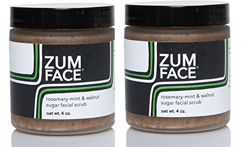 Zum Rosemary-Mint and Walnut Sugar Facial Scrub (Pack of 2) with Cane Sugar, Jojoba Oil, Coconut Oil, Olive Oil, Caster Oil, Rosemary, Peppermint and Essential Oils 4 oz