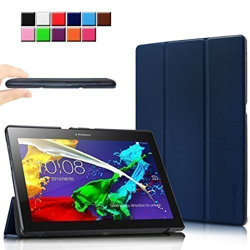 Infiland Lenovo Tab 2 A10-70 / Tab 2 A10-30 / Tab 3 10 Business Hülle Case, Ultra Dünn Tri-Fold Smart-Muschel PU Leder Schutzhülle für Lenovo Tab 2 A10-70 / Tab 2 A10-30 / Tab 3 10 Business 10,1 Zoll Tablet (mit Auto Schlaf / Wach Funktion)(Dunkleblau)