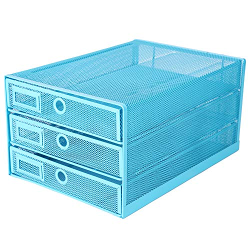Exerz Desk Organizer Wire Mesh 3 Tier Sliding Drawers Paper Sorter/Multifunctional/Premium Solid Construction for Letters, Documents, Mail, Files, Paper (Blue EX3205)