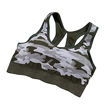 Womens Sports Bras, DRACLE Padded High Impact Support For Yoga Gym Workout Fitness Yoga Stretch Tank Top Seamless Camouflage style by DRACLE