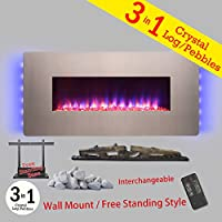 36-Inch Electric Wall Mount Fireplace Heater W/Remote Control and Pebble