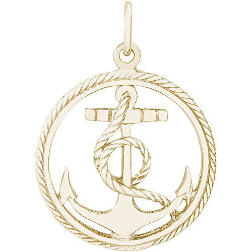 Rembrandt Charms 10K Yellow Gold Anchor in a Circle Charm on a Rope Chain Necklace, 18'' by Rembrandt Charms (Image #1)