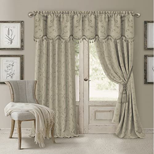 Elrene Home Fashions 26865901504 Blackout Energy Efficient Room Darkening Rod Pocket Window Curtain Drape Regal Jacquard Woven Panel, 52 x 95 , Natural, 1