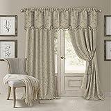 Elrene Home Fashions 026865901450 Blackout Energy Efficient Room Darkening Rod Pocket Window Curtain Drape Regal Jacquard Woven Panel, 52″ x 84″, Natural Review