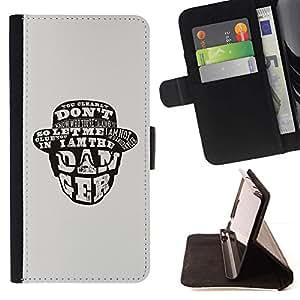 For HTC One M9 Case , Yo soy el peligro- la tarjeta de Crédito Slots PU Funda de cuero Monedero caso cubierta de piel