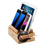 iCozzier Mini Bamboo Watch Stand Universal Multi-device Charging Station and Cord Organizer Stand Dock for Apple Watch, iPhone, iPad, Samsung Note, Nexus, Samsung Tab, Smartphones, Tablets