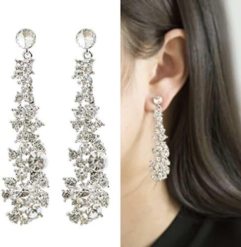 Waterfall Earrings-CIShop UltraSparkling Long Pearl earrings with Simulated Diamonds-Supper Beauty
