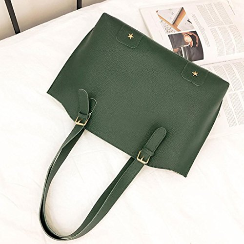 Zipper Bag Card Messenger Bag Bag Handbag Women Tote Set Green Hunpta Bag Solid 4 Shoulder c7qOza4HX