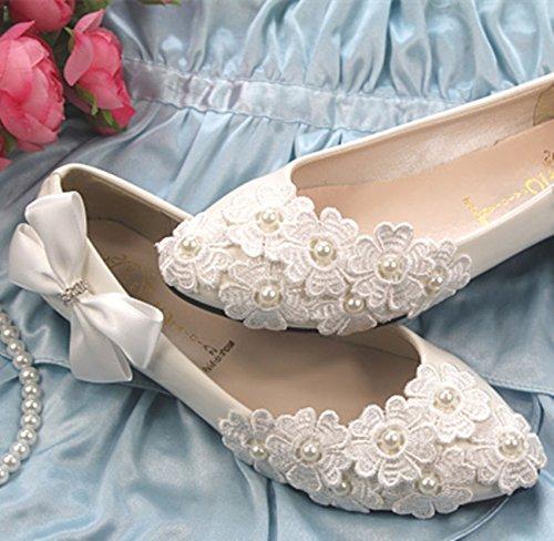 JINGXINSTORE Weiße Spitze Satin Bogen Perle Schuhe Blume Keil Hochzeit Schuhe Perle Braut Pumpen Weiß 26e209