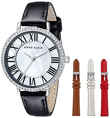 Anne Klein Women's AK/1617INST Swarovski Crystal Accented Interchangeable Leather Strap Watch Set