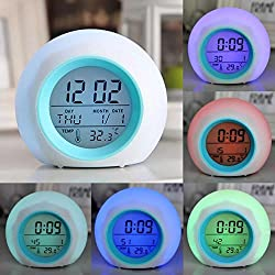 OHTOP Digital LED Clock Alarm Glowing Hot 7 Color Change Thermometer With Nature Sound