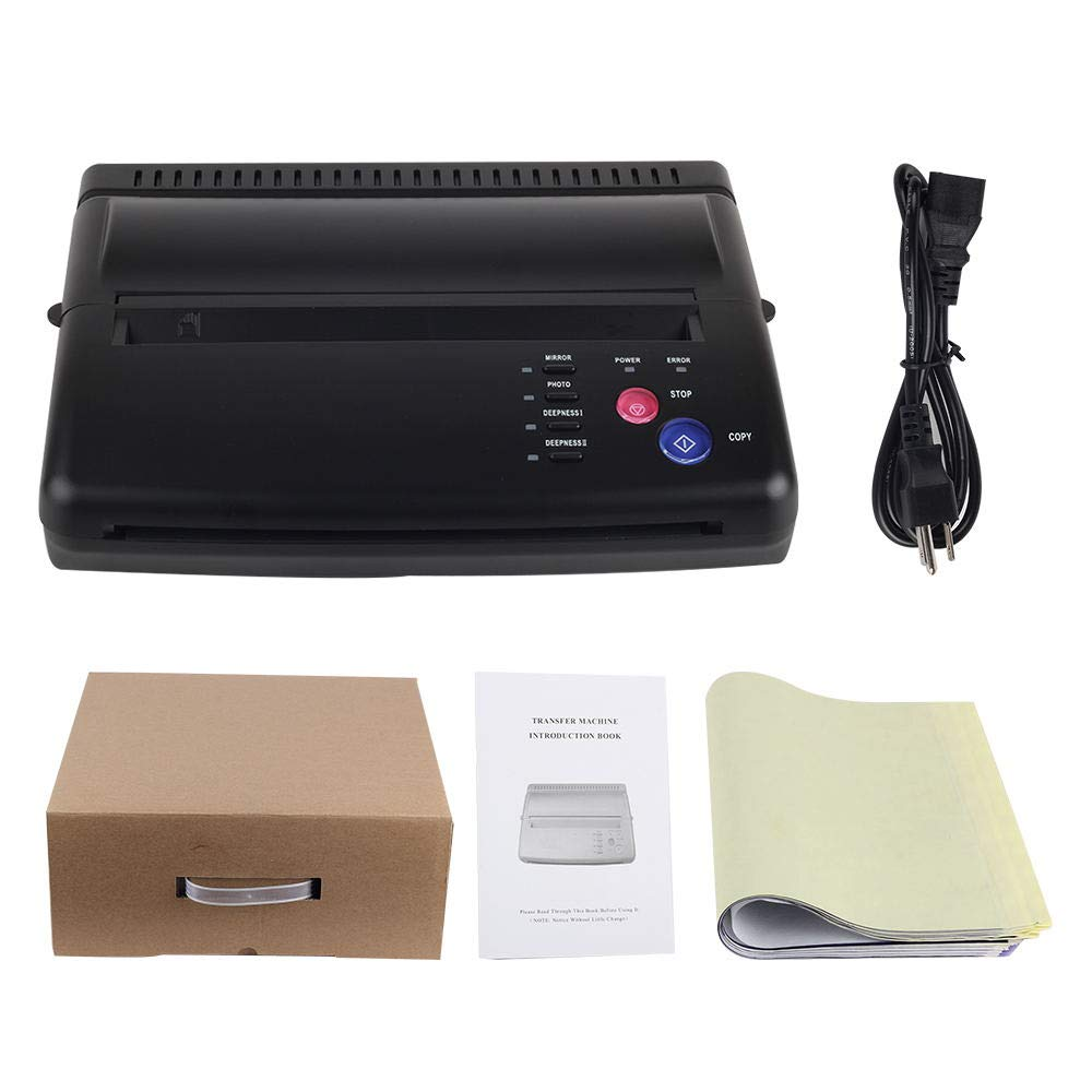 ce0ac935 Amazon.com: Black Tattoo Transfer Stencil Machine Thermal Copier with 10  pcs transfer Papers: Beauty