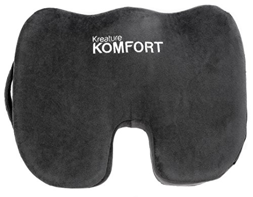 Kreature Komfort Orthopedic Memory Foam Seat Cushion, Relieves Coccyx Pain, Spine Issues, Stenosis, Tailbone, Back Aches, and Posture Issues - Seat Rubberized Pad