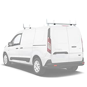 "AA-Racks Model X202-TR Transit Connect 2014-Newer Heavy Guage Steel 2 Bar (50"") Van Roof Rack System w/Ladder Stopper White"
