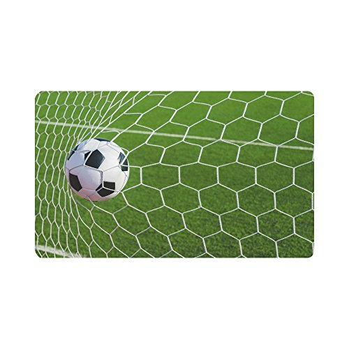 InterestPrint Sports Decor Soccer Football in Goal Net Doormat Anti-Slip Entrance Mat Floor Rug Indoor/Outdoor Door Mats Home Decor, Rubber Backing Large 30''(L) x 18''(W) by InterestPrint