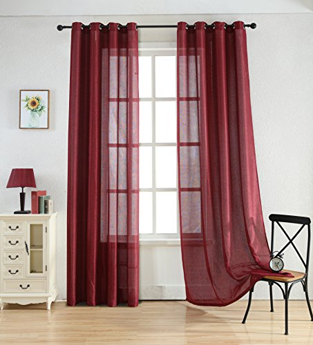 84' Sheer Curtain Panel (Merrylife High Class Linen Curtains with Grommets | 2 Panels Colorful Window Drapes | Length54'' X 84'' (BURGUNDY))