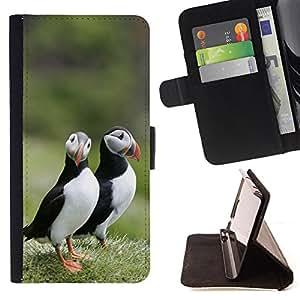 Devil Case- Estilo PU billetera de cuero del soporte del tir¨®n [solapa de cierre] Cubierta FOR Samsung Galaxy S6 Edge G9250 G925F- Bird