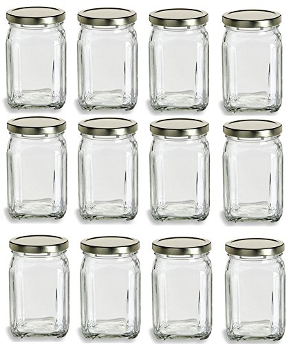 Nakpunar 12 pcs, 12 oz Victorian Square Glass Jars (375 ml) - Made in Italy