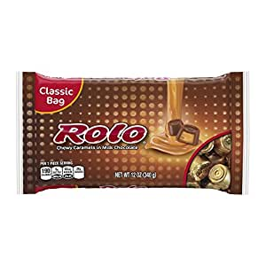 ROLO Chewy Caramels in Milk Chocolate (12-Ounce Bags, Pack of 4) (Halloween Candy)