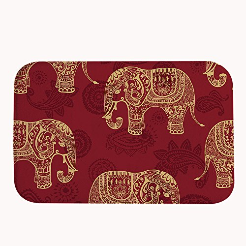 TrUiuiui Ethnic Red Elephant Pattern Bath Mat Coral Fleece Area Rug Door Mat  Entrance Rug Floor Mats For Front Outside Doors Entry Carpet 50 X 80 Cm