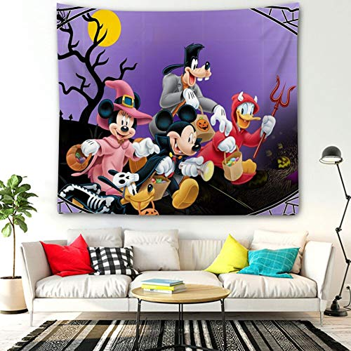 Donald Duck Halloween Hd (DISNEY COLLECTION Tapestry Halloween Mickey Mouse and Minnie Mouse Goofy Donald Duck Pluto Disney Halloween Wallpaper Tapestry for Living Room Bedroom Dorm Home Decor 60 Inch51)